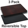 3 Pk. 24'' x 30'' Rectangular Table Top with Black or Mahogany Reversible Laminate Top