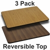 3 Pk. 24'' x 30'' Rectangular Table Top with Natural or Walnut Reversible Laminate Top