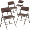 4 Pk. HERCULES Series Curved Triple Braced & Double Hinged Brown Patterned Fabric Upholstered Metal Folding Chair