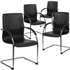 4 Pk. Black Vinyl Side Chair with Chrome Sled Base