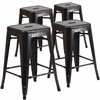 4 Pk. 24'' High Backless Black-Antique Gold Metal Indoor-Outdoor Counter Height Stool with Square Seat