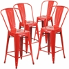 4 Pk. 24'' High Red Metal Indoor-Outdoor Counter Height Stool with Back