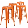 4 Pk. 30'' High Backless Orange Metal Indoor-Outdoor Barstool with Square Seat