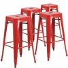 4 Pk. 30'' High Backless Red Metal Indoor-Outdoor Barstool with Square Seat