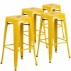 4 Pk. 30'' High Backless Yellow Metal Indoor-Outdoor Barstool with Square Seat