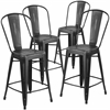 4 Pk. 24'' High Distressed Black Metal Indoor Counter Height Stool with Back