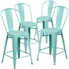 4 Pk. 24'' High Mint Green Metal Indoor-Outdoor Counter Height Stool with Back