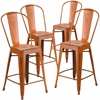 4 Pk. 24'' High Distressed Orange Metal Indoor Counter Height Stool with Back