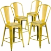 4 Pk. 24'' High Distressed Yellow Metal Indoor Counter Height Stool with Back