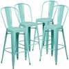 4 Pk. 30'' High Mint Green Metal Indoor-Outdoor Barstool with Back