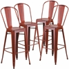 4 Pk. 30'' High Distressed Kelly Red Metal Indoor Barstool with Back