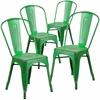 4 Pk. Distressed Green Metal Indoor Stackable Chair