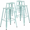 4 Pk. 30'' High Distressed Dream Blue Metal Indoor-Outdoor Barstool
