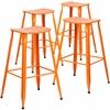 4 Pk. 30'' High Orange Metal Indoor-Outdoor Barstool