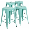 4 Pk. 24'' High Backless Mint Green Indoor-Outdoor Counter Height Stool
