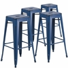 4 Pk. 30'' High Backless Distressed Antique Blue Metal Indoor-Outdoor Barstool