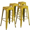 4 Pk. 30'' High Backless Distressed Yellow Metal Indoor Barstool