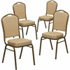 4 Pk. HERCULES Series Crown Back Stacking Banquet Chair with Beige Patterned Fabric and 2.5'' Thick Seat - Gold Frame