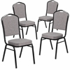 4 Pk. HERCULES Series Crown Back Stacking Banquet Chair with Gray Fabric and 2.5'' Thick Seat - Black Frame