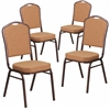 4 Pk. HERCULES Series Crown Back Stacking Banquet Chair with Brown Fabric and 2.5'' Thick Seat - Copper Vein Frame