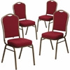 4 Pk. HERCULES Series Crown Back Stacking Banquet Chair with Burgundy Fabric and 2.5'' Thick Seat - Gold Vein Frame