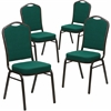4 Pk. HERCULES Series Crown Back Stacking Banquet Chair with Green Fabric and 2.5'' Thick Seat - Gold Vein Frame