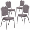 4 Pk. HERCULES Series Crown Back Stacking Banquet Chair with Herringbone Fabric and 2.5'' Thick Seat - Silver Frame