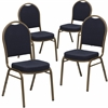 4 Pk. HERCULES Series Dome Back Stacking Banquet Chair with Navy Patterned Fabric and 2.5'' Thick Seat - Gold Frame