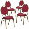 4 Pk. HERCULES Series Teardrop Back Stacking Banquet Chair with Burgundy Patterned Fabric and 2.5'' Thick Seat - Gold Frame