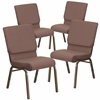 4 Pk. HERCULES Series 18.5''W Brown Dot Fabric Stacking Church Chair with 4.25'' Thick Seat - Gold Vein Frame