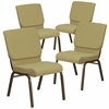 4 Pk. HERCULES Series 18.5''W Green Fabric Stacking Church Chair with 4.25'' Thick Seat - Gold Vein Frame