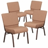 4 Pk. HERCULES Series 21'' Extra Wide Brown Fabric Stacking Church Chair with 4'' Thick Seat - Copper Vein Frame