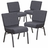 4 Pk. HERCULES Series 21'' Wide Dark Gray Fabric Stacking Church Chair with 4'' Thick Seat - Silver Vein Frame
