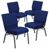 4 Pk. HERCULES Series 21'' Extra Wide Navy Blue Fabric Church Chair with 4'' Thick Seat, Communion Cup Book Rack - Silver Vein Frame