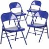4 Pk. HERCULES COLORBURST Series Cobalt Blue Triple Braced & Double Hinged Metal Folding Chair