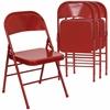 4 Pk. HERCULES Series Triple Braced & Double Hinged Red Metal Folding Chair