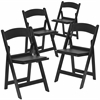 4 Pk. HERCULES Series 1000 lb. Capacity Black Resin Folding Chair with Black Vinyl Padded Seat
