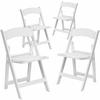 4 Pk. HERCULES Series 1000 lb. Capacity White Resin Folding Chair with White Vinyl Padded Seat