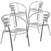 4 Pk. Aluminum Commercial Indoor-Outdoor Restaurant Stack Chair with Triple Slat Back