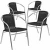4 Pk. Aluminum and Black Rattan Commercial Indoor-Outdoor Restaurant Stack Chair