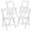 4 Pk. HERCULES Series White Wood Folding Chair with Vinyl Padded Seat