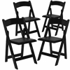 4 Pk. HERCULES Series Black Wood Folding Chair with Vinyl Padded Seat