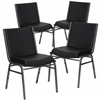 4 Pk. HERCULES Series Heavy Duty, 3'' Thickly Padded, Black Vinyl Upholstered Stack Chair