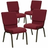 4 Pk. HERCULES Series 18.5''W Burgundy Fabric Stacking Church Chair with 4.25'' Thick Seat - Gold Vein Frame