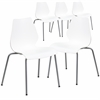 5 Pk. HERCULES Series 770 lb. Capacity White Stack Chair with Lumbar Support and Silver Frame