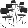 5 Pk. HERCULES Series 1000 lb. Capacity High Density Black Vinyl Stacking Chair with Sled Base