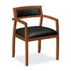 basyx by HON HVL852 Guest Chair | Fixed Arms | Wood Frame | Bourbon Cherry Finish | Black SofThread Leather