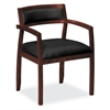 basyx by HON HVL852 Guest Chair | Fixed Arms | Wood Frame | Mahogany Finish | Black SofThread Leather