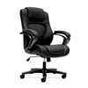 basyx by HON HVL402 Executive High-Back Chair | Center-Tilt, Tension, Lock | Fixed Arms | Black Vinyl