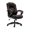 basyx by HON HVL402 Executive High-Back Chair | Center-Tilt, Tension, Lock | Fixed Arms | Brown Vinyl